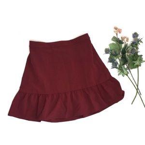 J Crew Mercantile Maroon Ruffle Skirt
